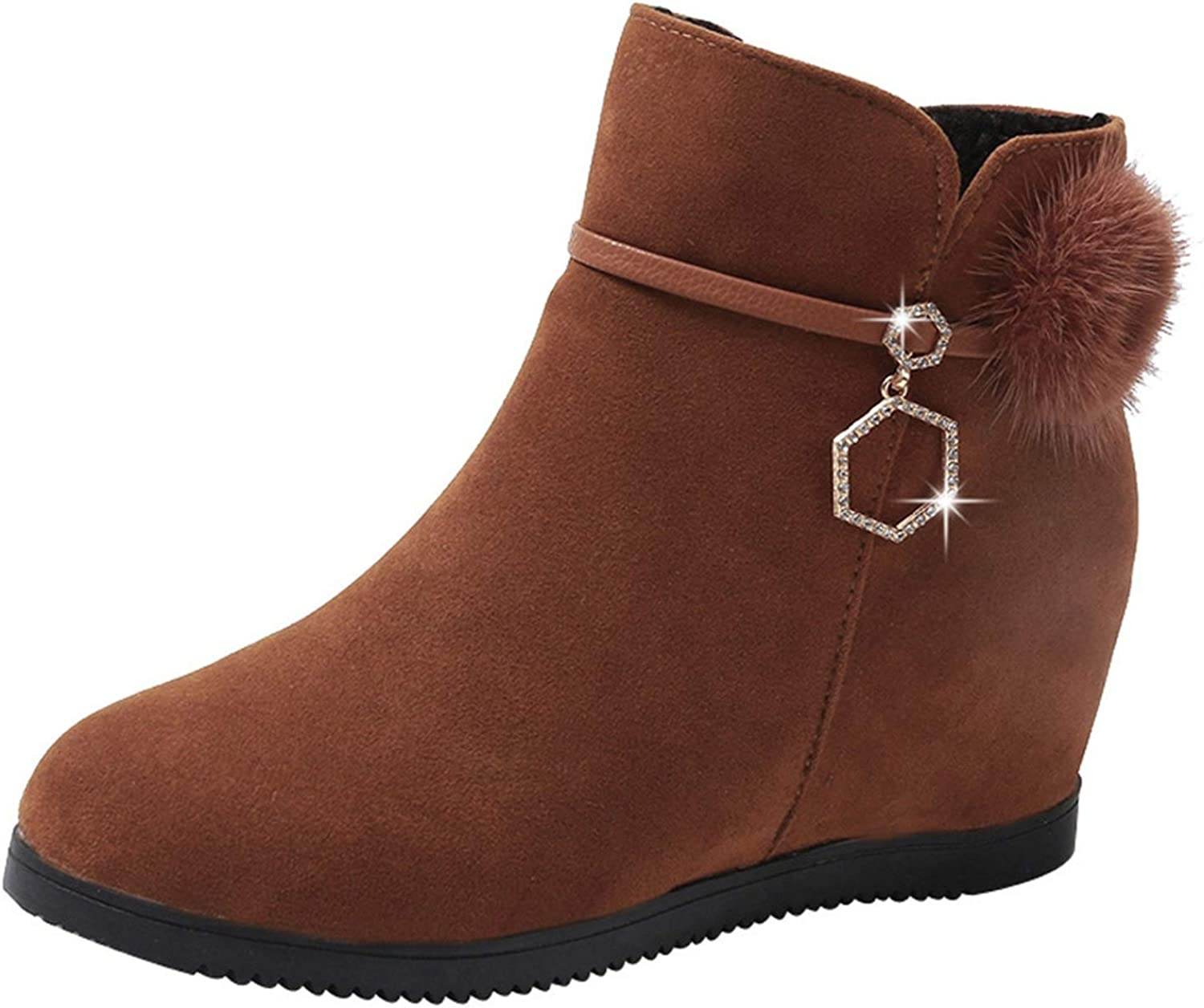 Winter Boots Ankle Boots Suede Hairball Round Toe Wedges shoes Pure Zipper Martin Boots,Brown,5.5,