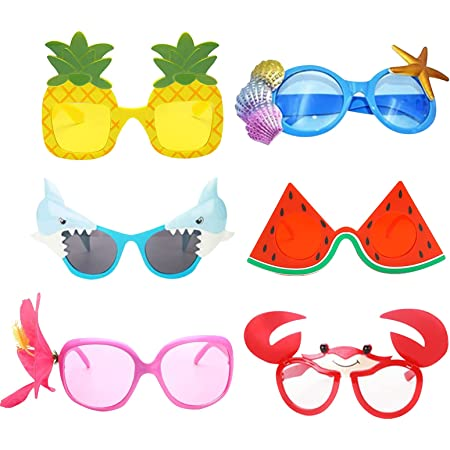 6 Pairs Novelty Party Glasses for Kids Adults, Funny Eye Glasses, Beach Party Sunglasses, Hawaiian Sunglasses, Tropical Sunglasses, Photo Prop Party Supplies Summer Luau Party Supplies