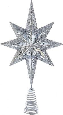 Kurt Adler Christmas Star Mini Tree Topper Star Burst 6.75 inch Silver