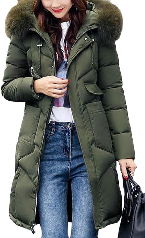 QDCACA Women's Winter Warm Faux Fur Hoodie Zipped Down Jacket Parka Coat