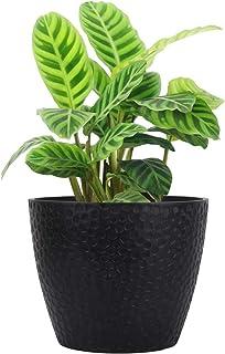 LA JOLIE MUSE Outdoor Indoor Planters Flower Pots - 9.4 Inch Planter Pot Containers, Plant Pots, Black, Honeycomb