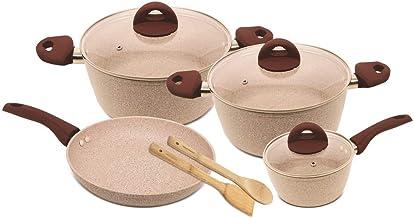مجموعة اواني طهي من 9 قطع مطلية بالرخام، عربة + حاوية للقلي + وعاء صلصة من هوم اواي- HW-3429