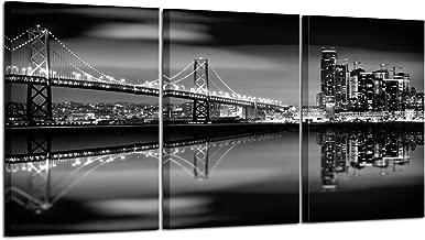 Kreative Arts San Francisco Bay at Night in Black and White Bridge Canvas Prints, Multicolor
