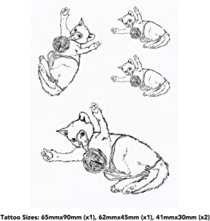 4 x 'Cat Playing with Yarn' Temporary Tattoos (TO00033763)