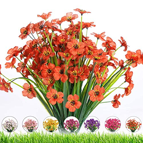 Artificial Outdoor Flowers,8 Bundles UV Resistant Fake Flowers,Artificial Violet Flowers Plastic Faux Flowers Greenery Plants for Outdoor Hanging Plants Garden Porch Window Box Decoration (Orange Red)