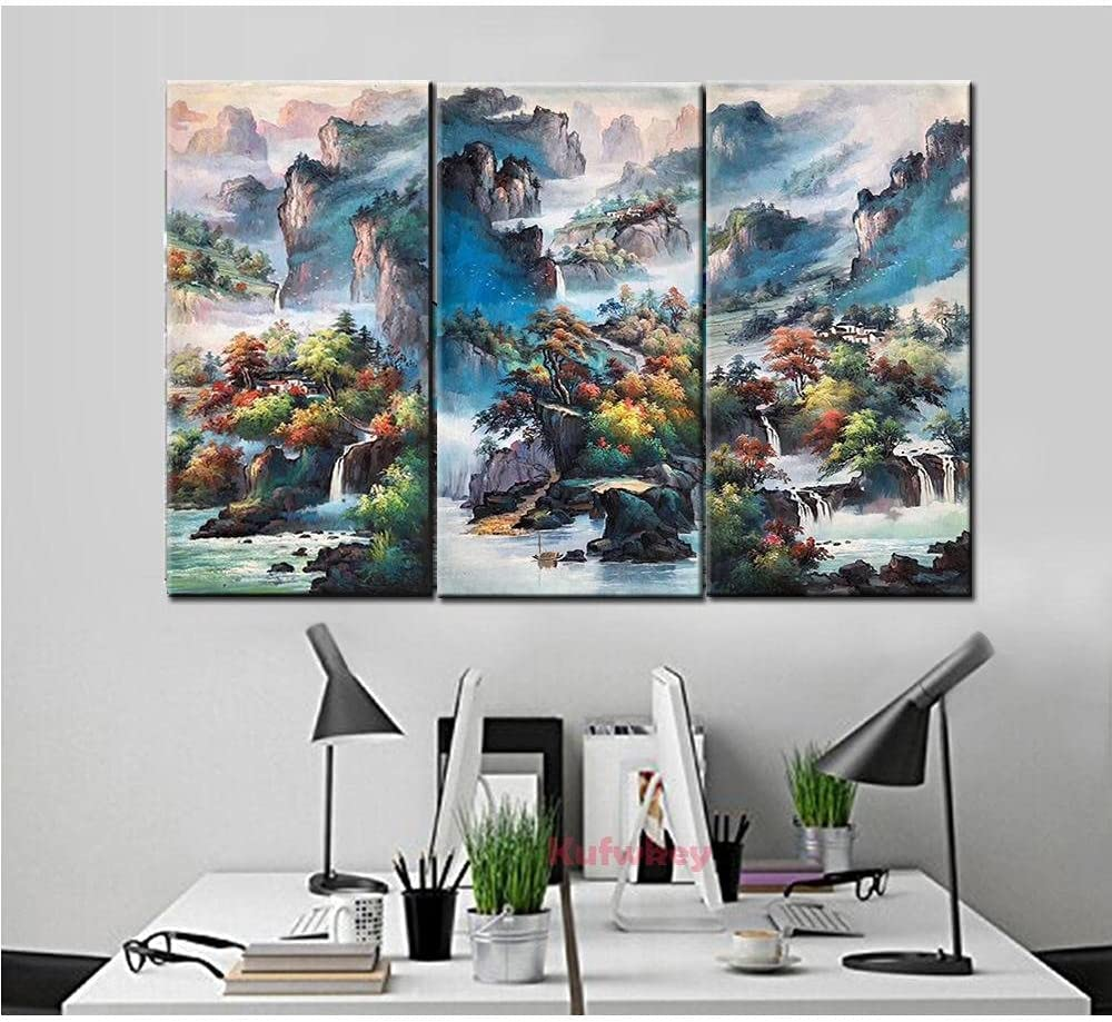 Diamond Painting Courier shipping free shipping Sanlian Great interest Waterfall Scenery 5D Dril Full DIY Kits