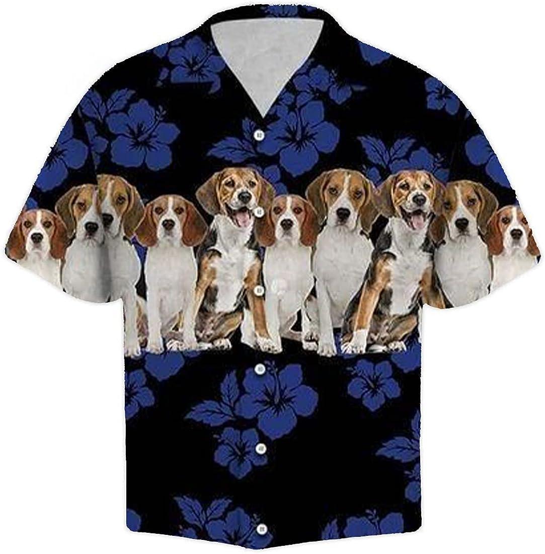 Summer Hawaiian Shirts for Men Women - Dog Button Down Mens Hawaiian Shirts Short Sleeve Set 8