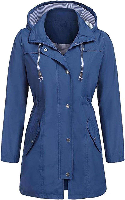 Women's Waterproof Hoodie Jackets Drawstring Waist Mid-Length Trench Coats Zipper Lightweight Rain Jacket