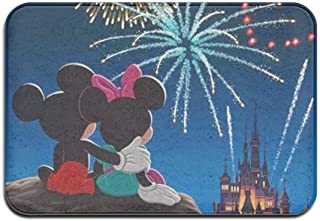 LoV Indoor/Outdoor Doormat Mickey Mouse Happy 4th of July Day (2) Anti-Slip Rubber Back Doormats Gift Rugs for The Entranc...