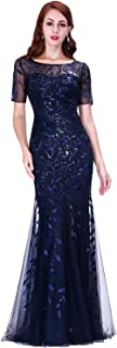 Ever-Pretty Women's Illusion Embroidery Elegant Mermaid Evening Dress 07707