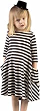 Hatop 1PC Black White Striped Dress Casual Family Clothes Girls Dress