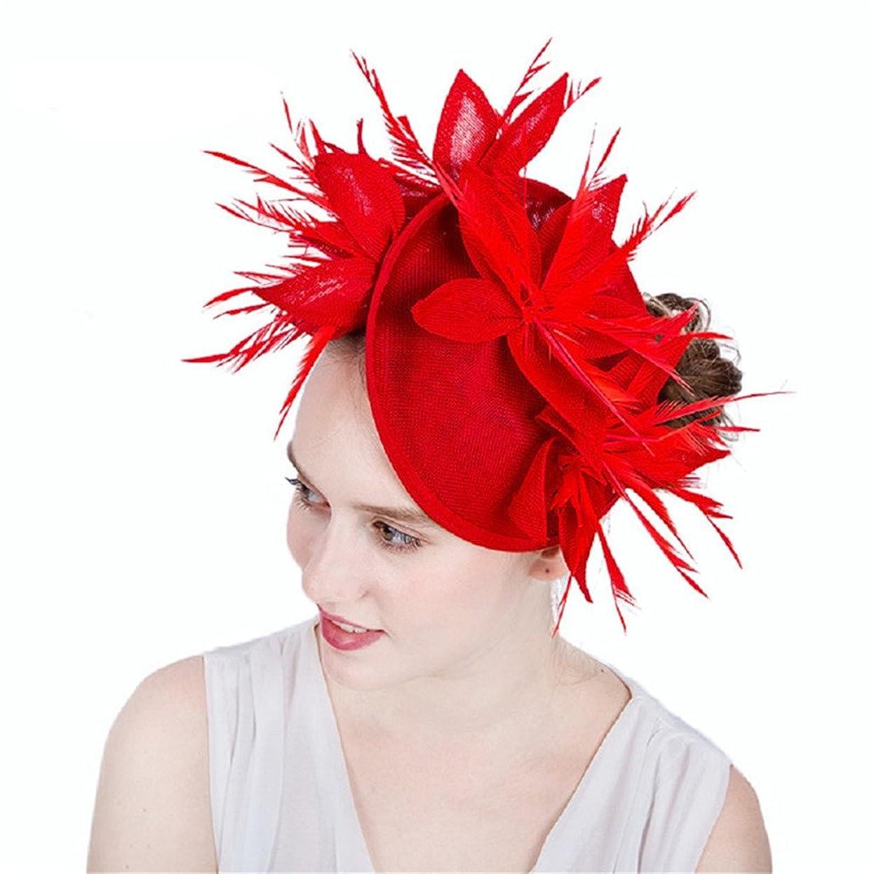 指導するハイランド落ち着く女性の魅力的な帽子 女性の女性Sinamay魅惑的な帽子カクテルティーパーティー帽子ピルボックス帽子ダービー帽子ホールド結婚式の試合ロイヤルアスコットライブパフォーマンス (色 : 濃紺)