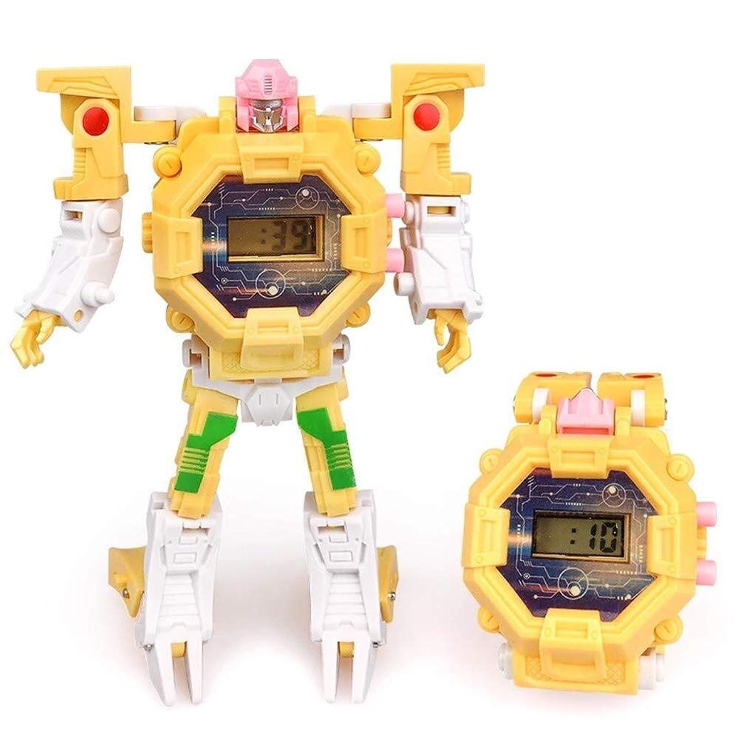 永久に移行する挑発するFANPING 変形玩具ロボットウォッチ、1つの変形ロボット玩具におけるデジタルウォッチ2、キッズクリスマスハロウィン新年のギフトのための電子時計インテリジェンス開発デフォルメロボット (Color : Pink)