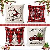 Fundas navideñas para Cojines,4 pcs Almohada de Navidad,Decoracion Fundas Cojin Navideños Funda de Almohada Navideñas Funda de Almohada navideña para el hogar (B)