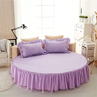 GFYL Round Bed Sheet Set Cotton Anti-Slip Lace Ruffled Bed Cover Solid Color Dust-Proof Base Frilled Fitted Valance Sheet Bed Skirt 17 inch Drop,I,Diameter200cm