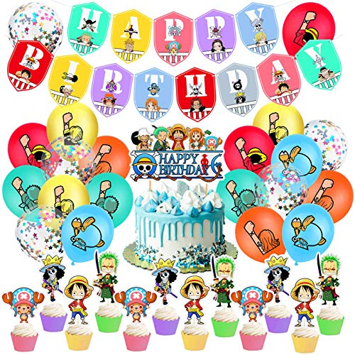 34Pcs One Piece Birthday Party Supplies One Piece Birthday Party Decorations Straw Hat Pirates Happy birthday Banner Latex balloon One Piece Cupcake Toppers Set Anime Party Supplies for Kids and Boys
