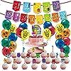 誕生日パーティー Numberblocks テーマバルーンプルフラグセット装飾ラテックスバルーンハッピーバースデーパーティー用品少年少女のおもちゃの装飾子供
