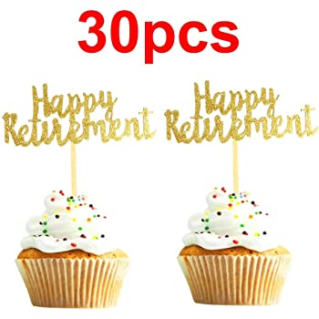 Cupcake Topper Set of 12 Retirement Cupcake Topper Happy Retirement Glitter Cupcake Toppers Boss Retirement Office Party