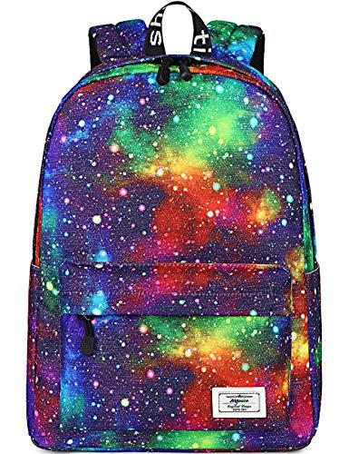 Mygreen Galaxy Rucksack Backpack Alltagstasche für Mädchen und Jungen Schultasche für Mädchen Jungen | Universum Sterne | Ideal Reisetasche Alltagstasche Schultertasche Rot Blau