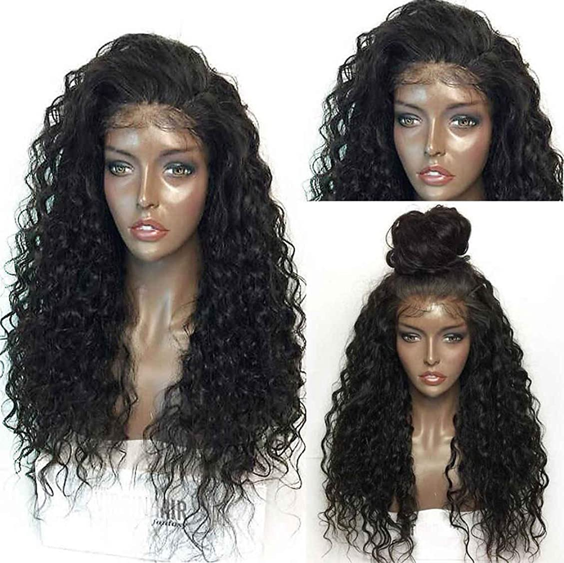 タンザニア安価な開示する女性かつら130%密度耐熱合成ロングヘアウィッグナチュラルウェーブカーリーレースフロントウィッグ