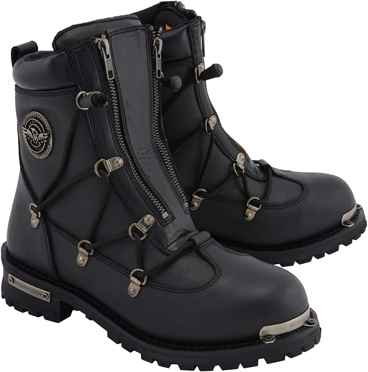 Price reduction Milwaukee Leather MBM9075 Men's Black Toe Zipp Dual New arrival 6-inch Plain