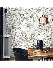 Behang bloemen wit van Gogh Floral amandelbloesem vintage voor slaapkamer keuken woonkamer incl. behanglijm meesterlijm voor vliesbehang