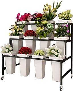 Étagère À Fleurs,Stand De Fleurs, Présentoir De Magasin De Fleur, Support De Fleur, 3 Couches Étagées Seau Carré en Plasti...