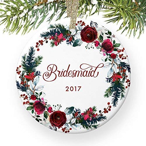 For367Walton Bridesmaid Ornament 2017, Will You Be My Bridesmaid? Proposal Wedding Party Asking Bridal Marriage Keepsake from Bride Ceramic 3' Flat Porcelain