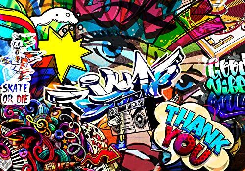 decomonkey Fototapete selbstklebend Graffiti 196x140 cm XL Selbstklebende Tapeten Wand Fototapeten Tapete Wandtapete klebend Klebefolie StreetArt Jugendzimmer