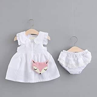 Alician Girl Children Kids Cotton Lapel Sleeveless Dress with Lovely Small Underwear Two Piece Suit Outfit White 100cm Household Supplies