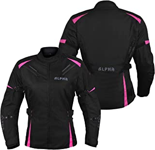 ALPHA CYCLE GEAR ALL SEASON WOMEN MOTORCYCLE JACKET WATERPROOF RIDING WITH CE ARMOUR (BLACK/PINK,...