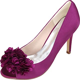 Vimedea Womens Peep Toe Slip On Wedding Dress Pumps Slip On Prom Bride Party Y5623-12H