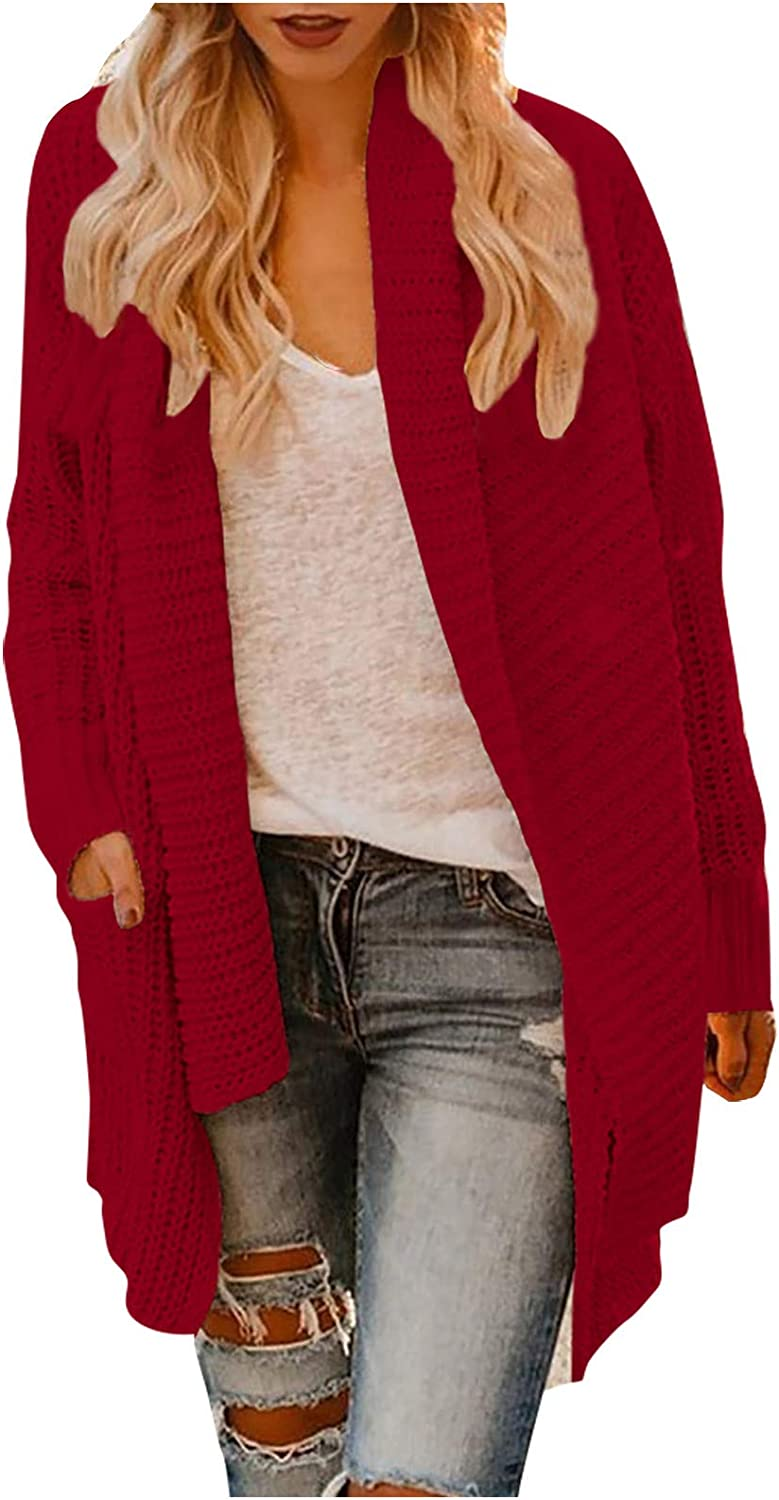 Womens New Free Shipping Knitted Sweater Deluxe Solid Color Jacket Cardigan Front Co Open