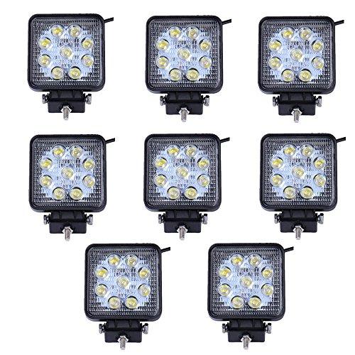 greenmigo 27 W 9 LED lumière lampe de travail LED Projecteur à réflecteur Projecteur de travail Offroad SUV, UTV rectangulaire, ATV offroad Phares supplémentaire LED 12 V 24 V 8 Stück