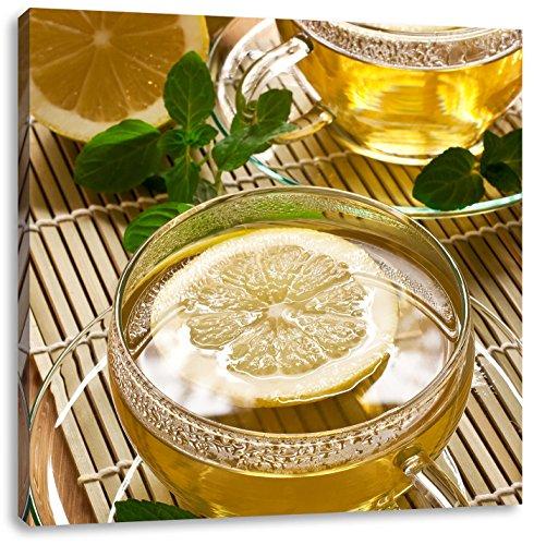 Groene thee met citroenCanvas Foto Plein   Maat: 70x70 cm   Wanddecoraties   Kunstdruk   Volledig gemonteerd