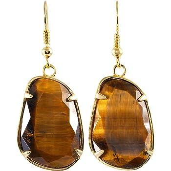 Tiger Eye Natural Crystal Water Drop Dangle Earrings