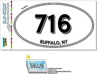 Graphics and More Area Code Euro Oval Window Laminated Sticker 716 New York NY Akron - Gowanda - Buffalo