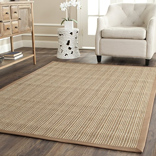 "Safavieh Natural Fiber Collection NF442D Martinique Stripe Tan Sisal Area Rug (5' x 7'6"") -  NF442D-58"