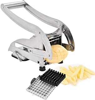 Topromise French Fry Cutter Stainless Steel Potato Slicer with 2 Blades and Strong-Hold Suction Pads(Sliver)