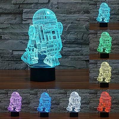 7 color changing night light star war R2 robot 3D light Robot Light LED Table Lamp Touch Switch Desk Light for kids