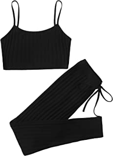 Verdusa Women's 2 Piece Outfit Ribbed Cami Top and Leggings Long Pants Tracksuit Set