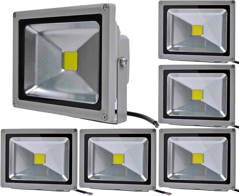 6pcs 20W LED Fluter Floodlight,ALPHA DIMA IP65 Wasserdicht Grau Kaltwei 120° LED Auenstrahler Fluter Flutlicht AC 85-265V Tageslichtwei