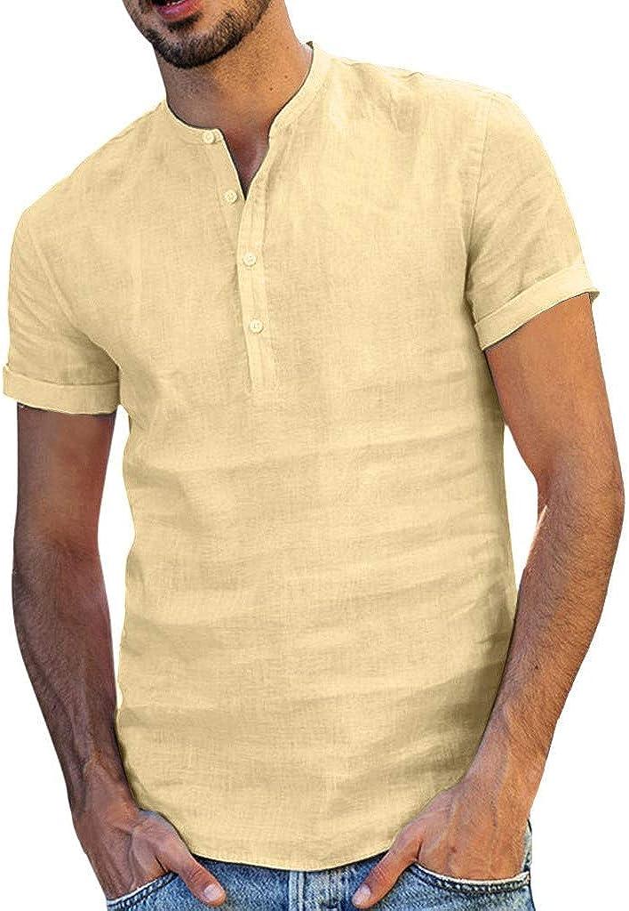 Men's Linen Henley Shirts Short Sleeve Casual Button Down Summer Beach Yoga Shirts Lightweight Tops(A)