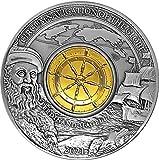 2021 BB Modern Commemorative PowerCoin Ferdinand Magellan 500th Anniversary 3 Oz Silver Coin 5$ Barbados 2021 Antique Finish