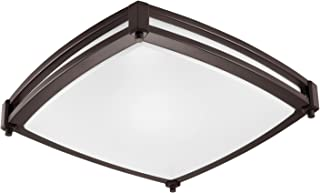 GetInLight LED Flush Mount Ceiling Light, 16-Inch, 25W(125W Equivalent), Bronze Finish, 3000K(Soft White), Dimmable, Square, Dry Location Rated, ETL Listed, IN-0317-3-BZ