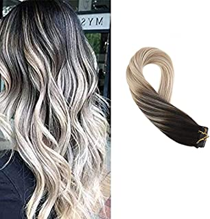 Moresoo 12 Inch Skin Weft Tape in Extensions Tape on Hair Extensions Human Hair Color #1B Black Fading to #18 and #60 Blonde Glue in Hair Extensions Seamless Hair Extensions 20pcs/30g