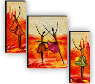 SAF Set of 3 Dancing African Ladies Modren Art UV Textured Home Decorative Gift Item MDF Painting 12 Inch X 18 Inch SAF-JM...
