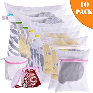Mesh Laundry Bags - 10Pcs Lingerie Delicates Reusable Washing Bag for Laundry, Travel Storage Organizer for Wash Clothes, Jeans, Sock, Bra, Underwear (8 pcs laundry bag and 2 pcs Bra wash bag)