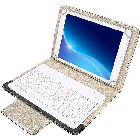 Mavis Laven Teclado inalámbrico Bluetooth con Estuche, Teclado Bluetooth Ultra Delgado 10 Tablet PC Funda Protectora Universal de PU para iOS para ...