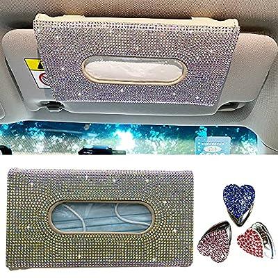 EXZ Bling Mask Tissue Holder for Car Visor,Mask Holder for Car Leather Crystals Case with 3pack Hook,Sparkling Bling Car Accessories for Women